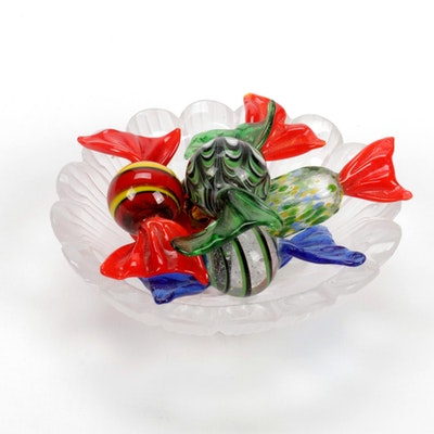 """Lalique """"Paquerettes"""" Frosted Crystal Ashtray with Murano Blown Glass Candy"""