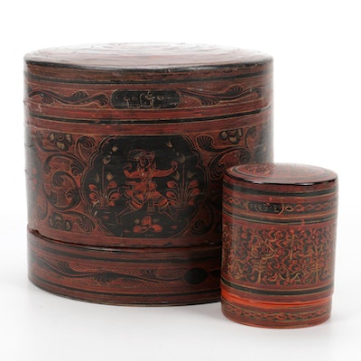 Thai Red and Black Lacquered Cylinder Boxes