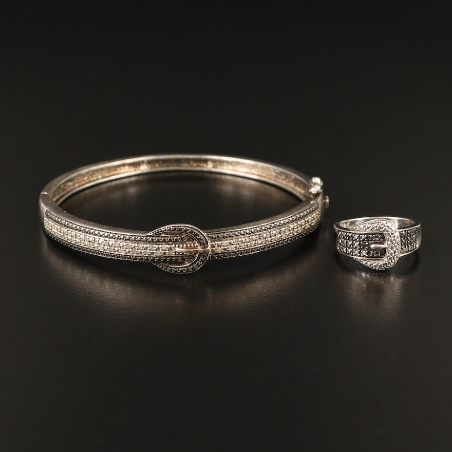 Sterling Diamond Hinged Buckle Bracelet and Ring Set