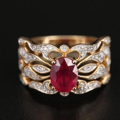 EFFY Openwork Corundum and Diamond Ring