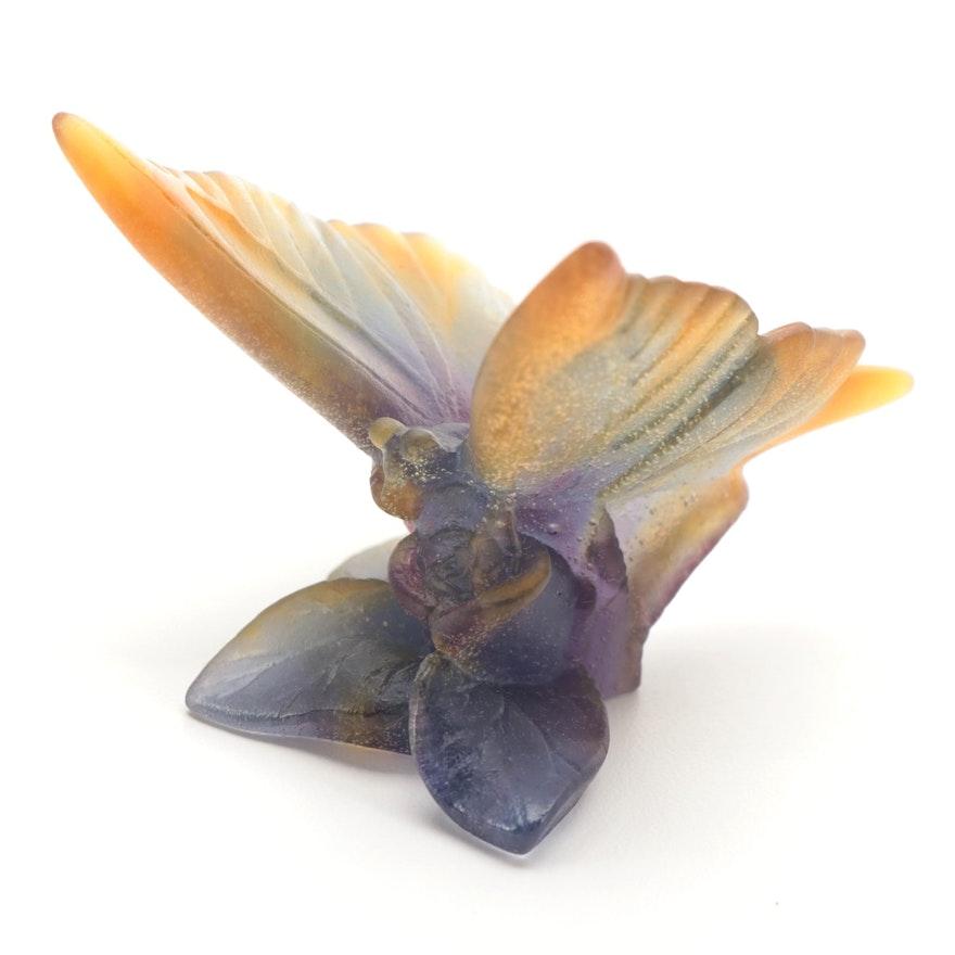 Daum Polychrome Pâte de Verre Art Glass Butterfly Figurine
