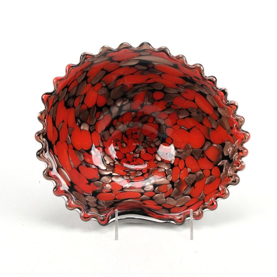 Murano Style Copper Avventurina and Red Confetti Glass Bowl with Ripple Edge