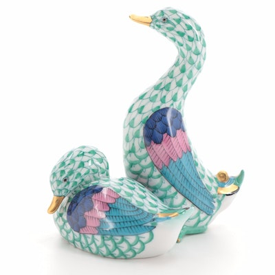 """Herend Green Fishnet with Gold """"Pair of Ducks"""" Porcelain Figurine"""