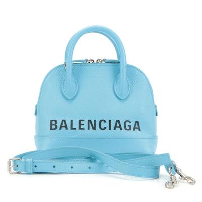 Balenciaga XXS Ville Top Handle Bag in Light Blue Grained Leather