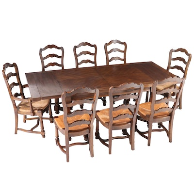 Nine-Piece French Provincial Style Oak Dining Set, Mid to Late 20th Century