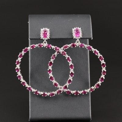Sterling Silver Rhodolite Garnet and Cubic Zirconia Hoop Earrings