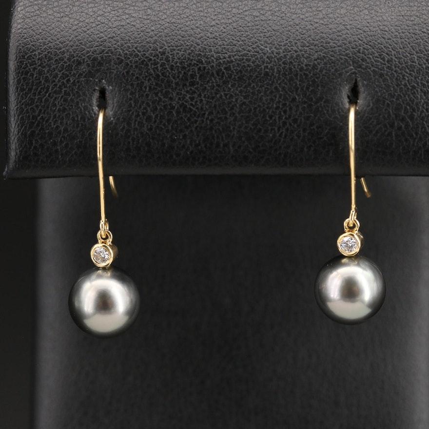 18K Pearl and Diamond Drop Earrings