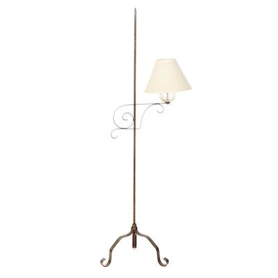 Colonial Style Bridge Arm Floor Standing Oil Lamp, Converted