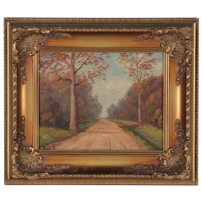 Robert DeWitt Landscape Oil Painting of Dirt Road, Mid-20th Century