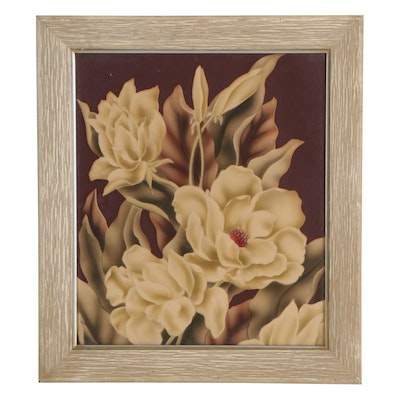 Hand-Embellished Floral Relief Print, Mid-20th Century