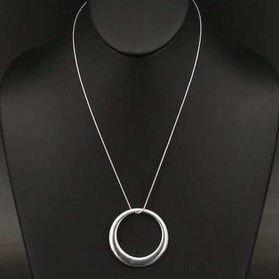 Zina Sterling Silver Knife Edge Circle Pendant Necklace