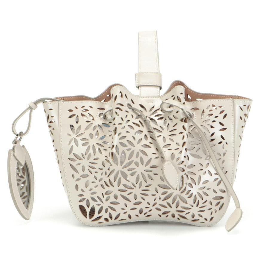 ALAÏA Paris Rose-Marie 16 Bracelet Bag in Grey Laser Cut Leather