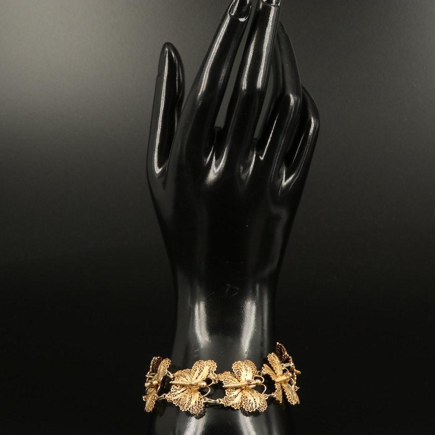 Sterling Filigree Butterfly Bracelet