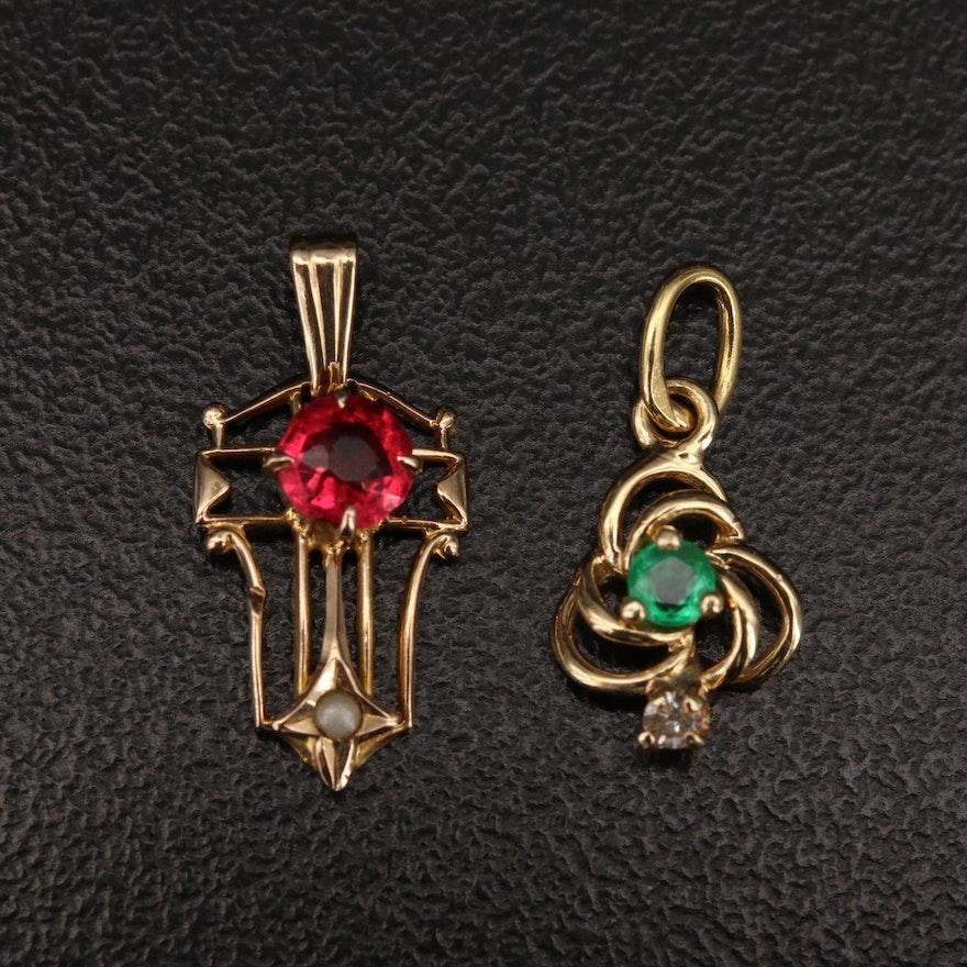 14K Emerald, Diamond and Gemstone Pendants