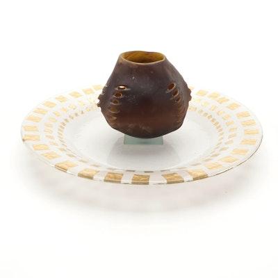 Richard Ryan Handblown Studio Art Glass Vase, and Glass Charger