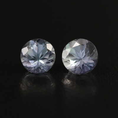 Matched Pair of Loose 1.71 CTW Round Faceted Tanzanites