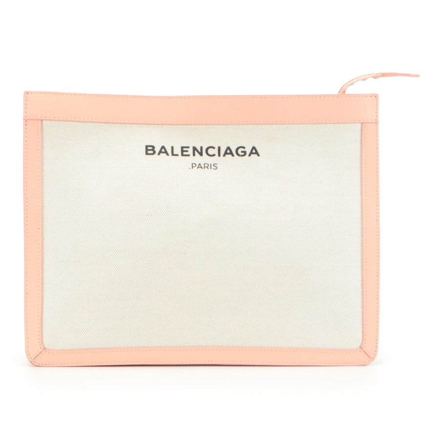 Balenciaga Canvas and Blush Pink Leather Zip Clutch