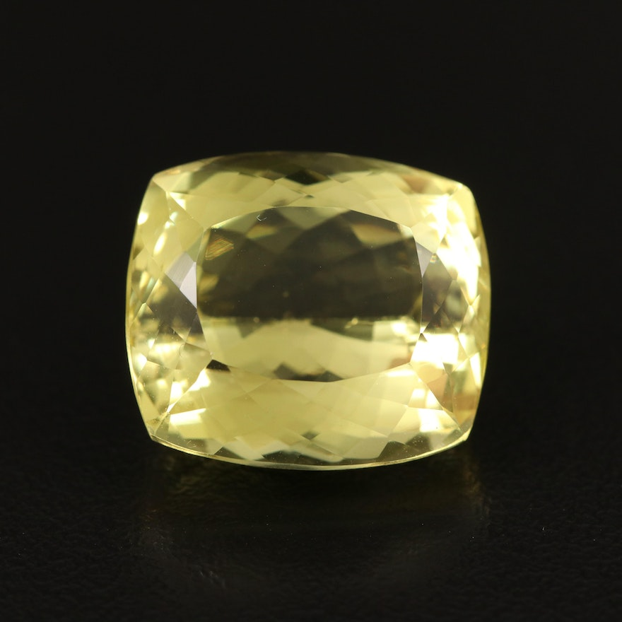 Loose 25.45 CT Cushion Faceted Citrine