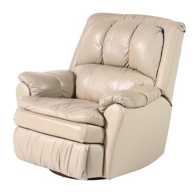 Taupe Leather Swivel Manual Recliner