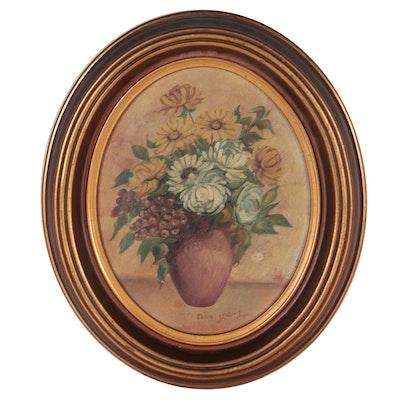 Still Life Oil Painting Flowers, Mid-20th Century