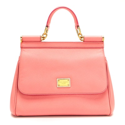 Dolce & Gabbana Miss Sicily Small Pink Saffiano Leather Convertible Handbag