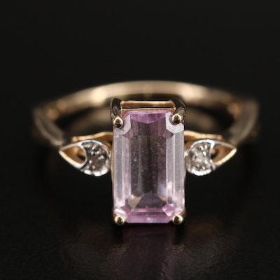 9K Kunzite and Diamond Ring