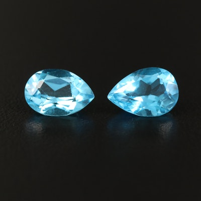 Matched Pair of Loose 4.77 CTW Pear Faceted Swiss Blue Topaz