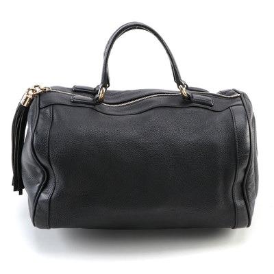 Gucci Soho Boston Bag in Black Grained Leather with Tasseled Zip Pull