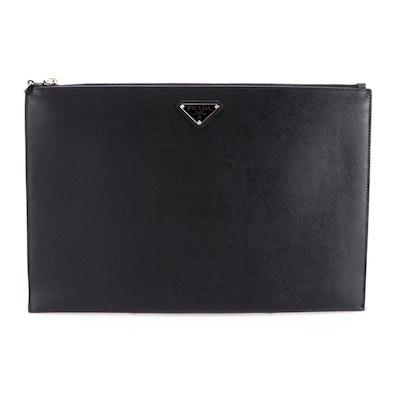 Prada Zip Portfolio Case in Black Saffiano Leather