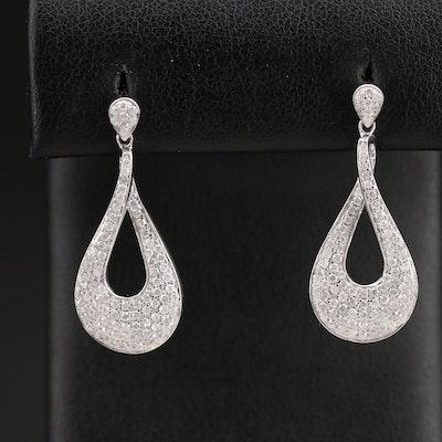 14K 1.14 CTW Pavé Diamond Earrings