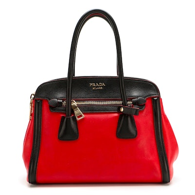 Prada Double-Zip Tote in Red Leather with Black Saffiano Leather Trim