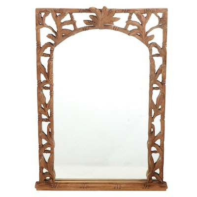 Rectangular Carved Wooden Bamboo Form Wall Mirror