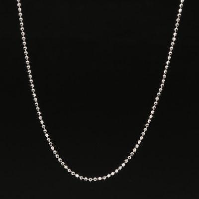 Italian 18K Diamond Cut, Bead Chain Necklace