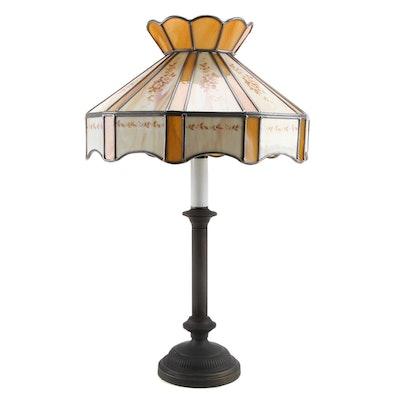 Floral Transfer Design on Slag Glass Swag Shade Table Lamp