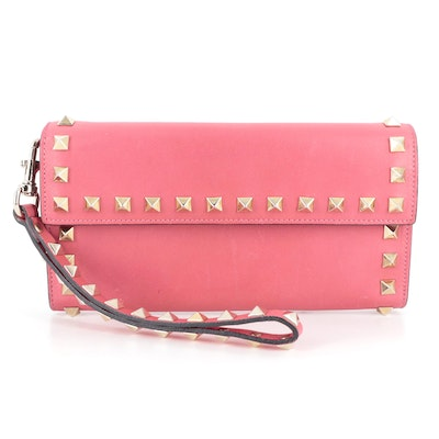 Valentino Rockstud Continental Wristlet Wallet in Pink Leather with Box