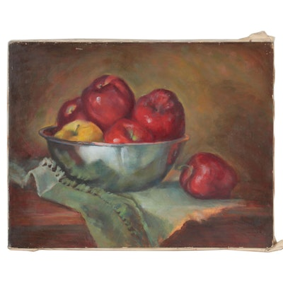 Still Life Oil Painting of Fruit Bowl, Late 20th Century