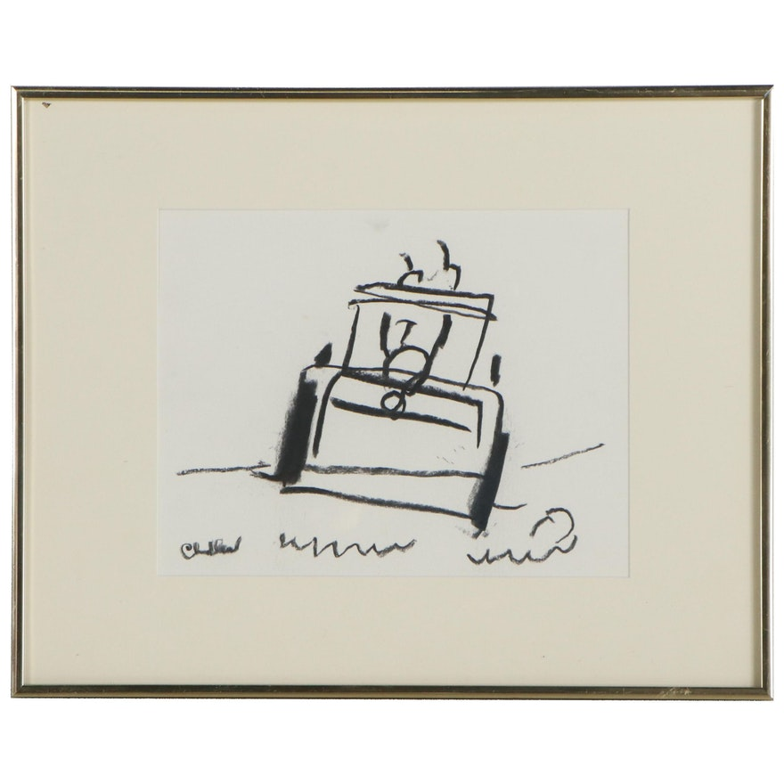 Paul Chidlaw Abstract Charcoal Drawing, Circa 1989