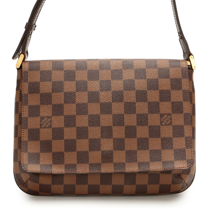 Louis Vuitton Musette Tango in Damier Ebene Canvas and Smooth Leather