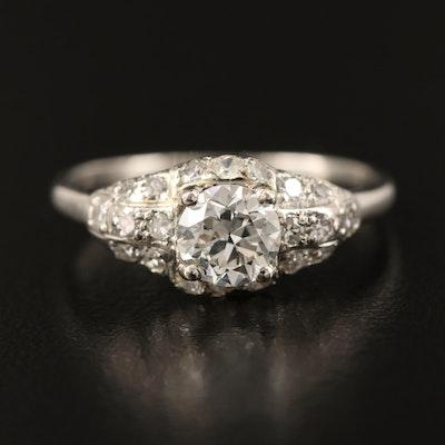 Vintage Platinum 1.03 CTW Diamond Ring with GIA Report