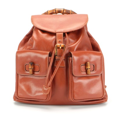 Gucci Bamboo Drawstring Backpack in Cognac Leather