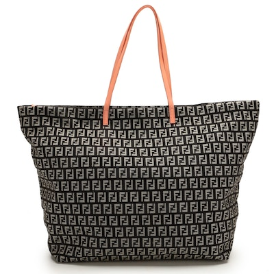 Fendi Tote Bag in Black Zucca Canvas with Pink Leather Trim