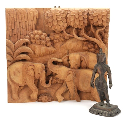 Tibetan Style Bronze Sculpture and Hand-Carved Wood Relief