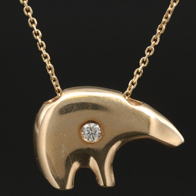 14K Diamond Bear Pendant Necklace