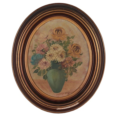 Still Life Oil Painting of Flowers, Mid-20th Century