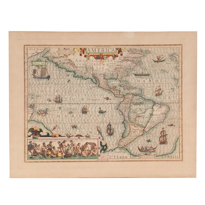 """Hand-Colored Engraving Map after Jodocus Hondius """"America,"""" Early 18th Century"""