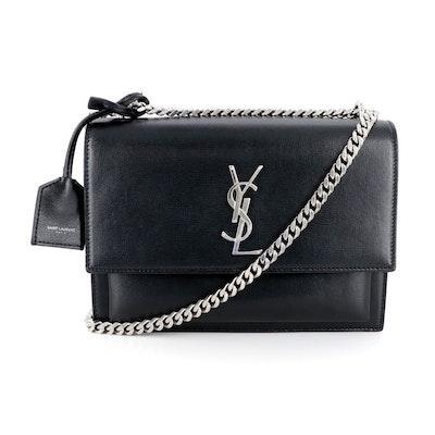 Saint Laurent Black Leather Front Flap Shoulder Bag