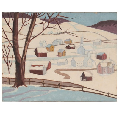 Folk Art Landscape Oil Painting, Late 20th Century