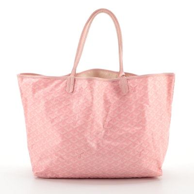 Goyard St. Louis PM Tote and Pouch in Pink Goyardine Coated Canvas