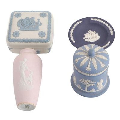 Wedgwood Neoclassical Jasperware Vanity Boxes and Ashtray with Tharaud Vase