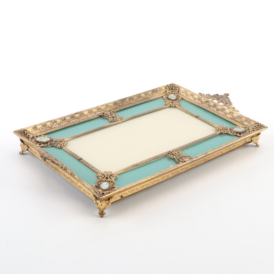 Rococo Style Gilt Metal Vanity Tray with Carved Jadeite Medallions